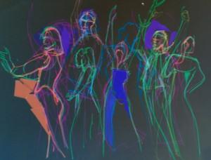 Figures felt pen black background